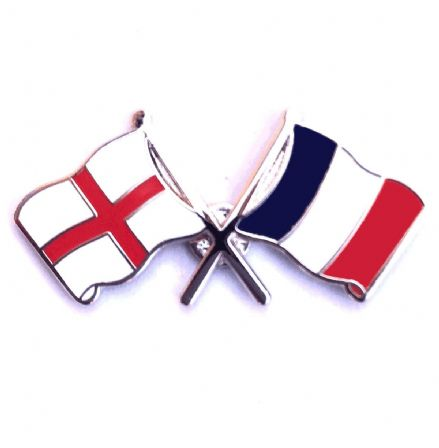 England and France Crossed Flags Lapel Badge